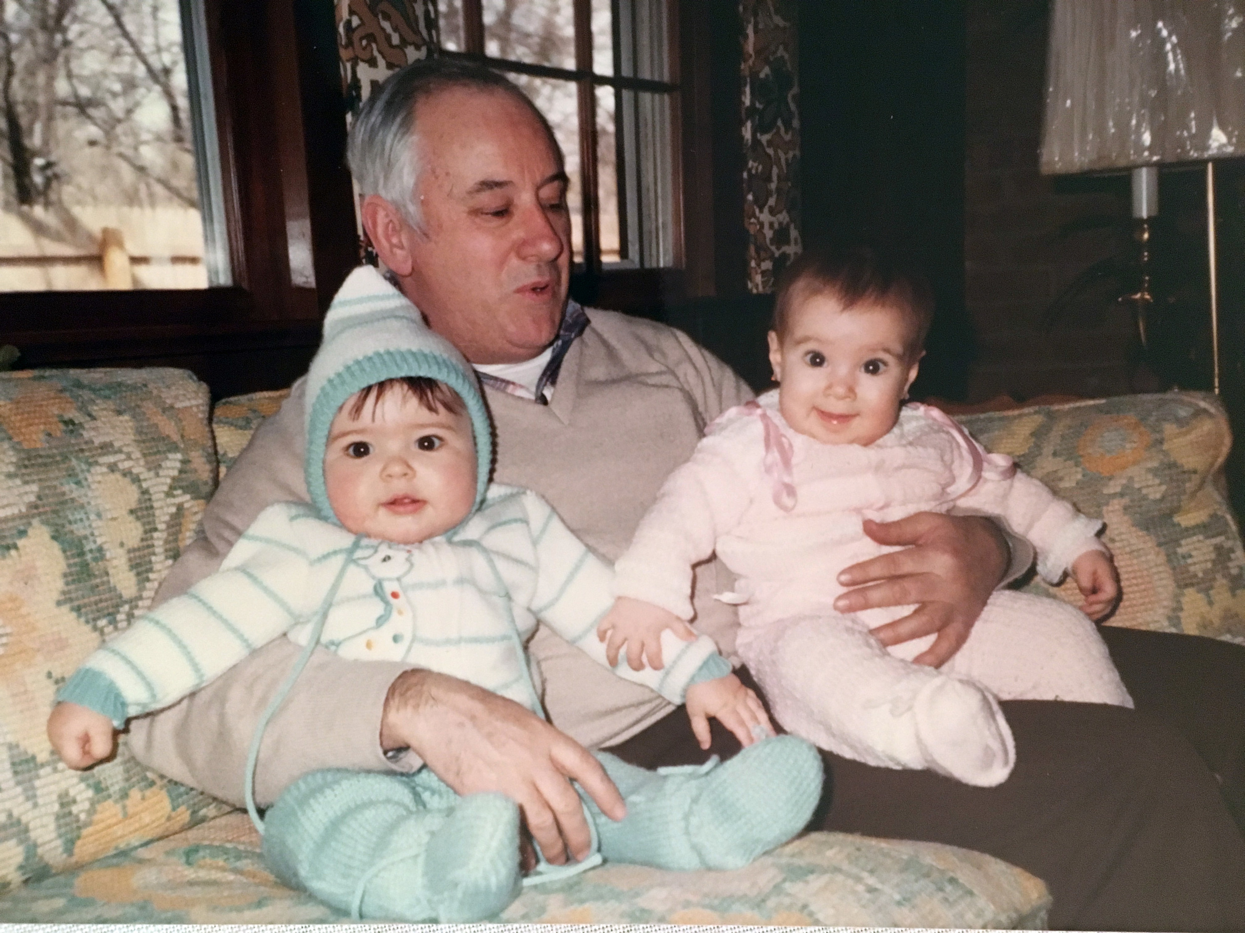 My cousin Billy (eight days my junior!), my grandfather, and me.