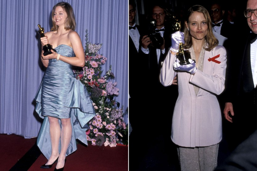 Jodie Foster before Armani (in 1989) and after Armani (in 1991). Getty.