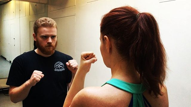 """Battle of the Gingers. Gotta learn to take a hit as well as give one. Having so much fun & slowly developing whiplash in Jared Kirby's """"Fighting For Film"""" class. #nycactress #actorslife #stagecombat #stagecombatclass #fightingforfilm #redhead #gingers"""