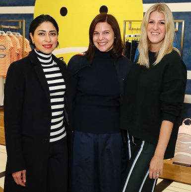 Sana Rezwan Sait, Carolyn Angel and Casey Fremont attend Art Sundae with Art Production Fund at Tory Sport Flatiron on October 16, 2018 in New York City.