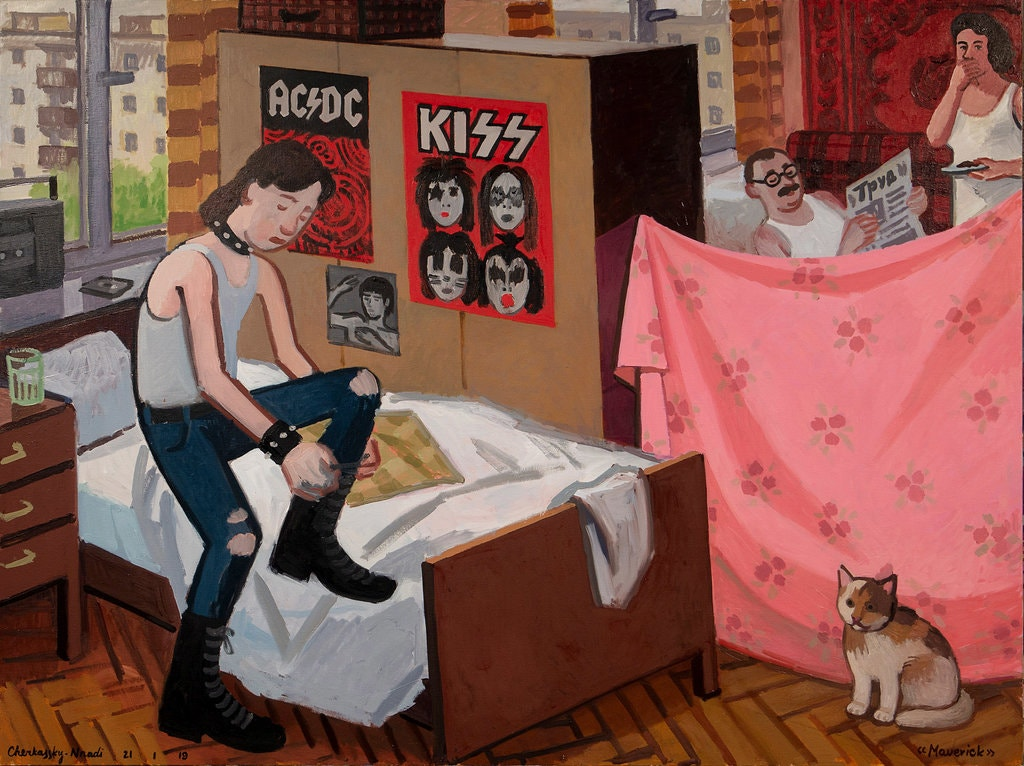 "One of the most touching paintings is ""Maverick,"" which shows a Ukrainian family in its cramped apartment. Zoya Cherkassky and Fort Gansevoort, New York"