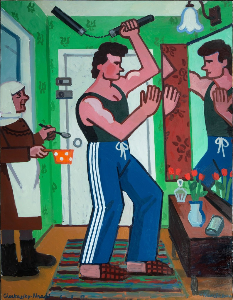 """Nunchaku,"" from 2017, shows a family in a cramped Soviet-era apartment. Zoya Cherkassky and Fort Gansevoort, New York"