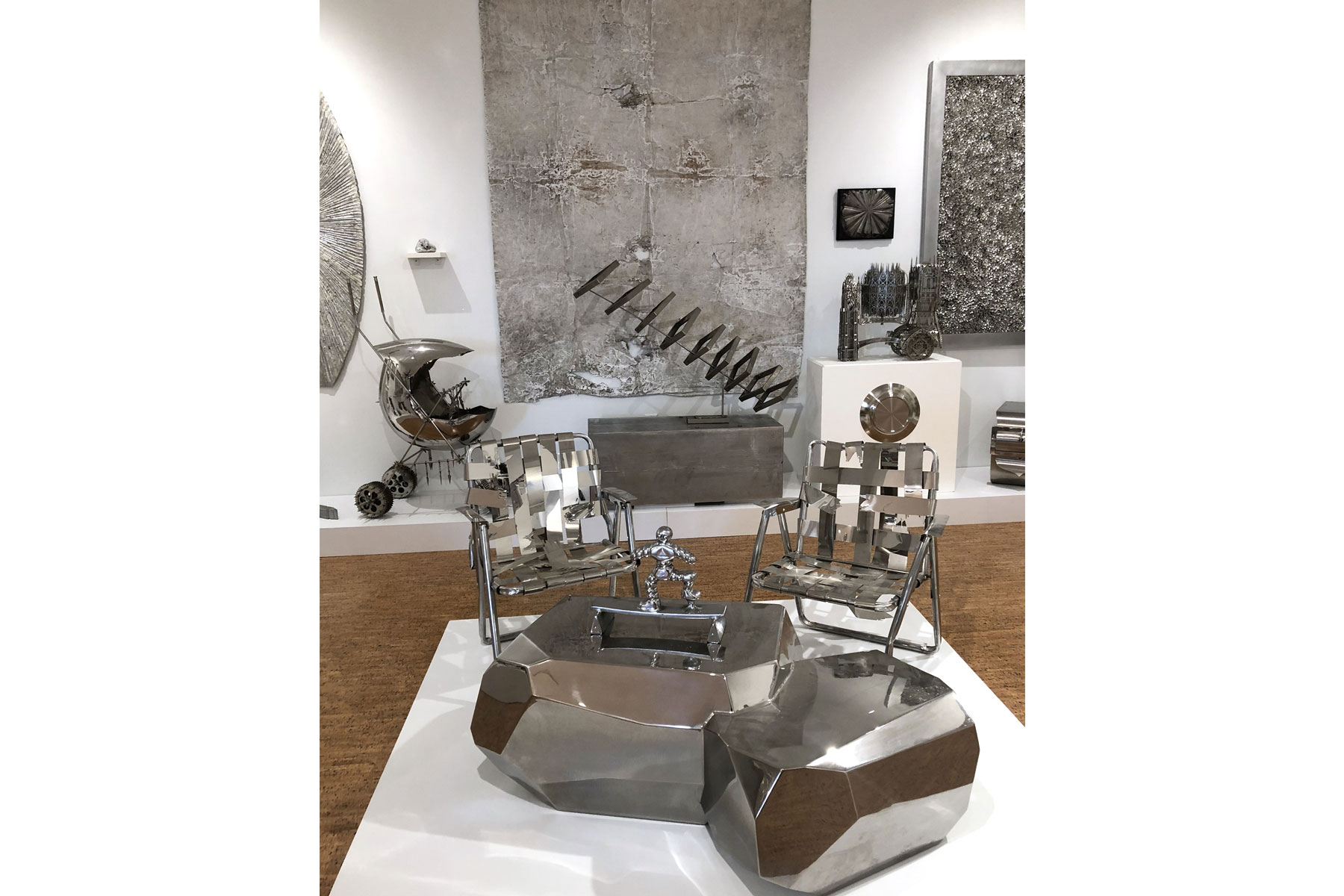 Silver-themed artwork installation, The Bunker Artspace, Palm Beach, Florida