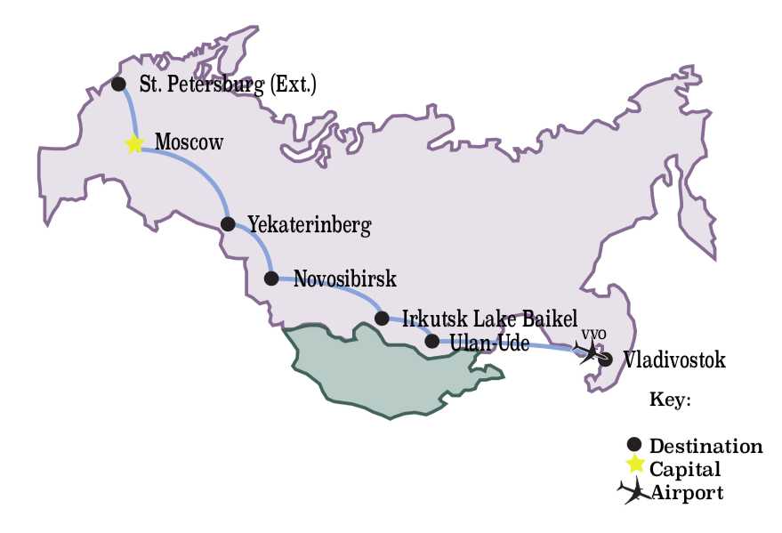 Trip Locations:  Vladivostok, Ulan-Ude, Irkutsk, Novosikbirsk, Yekaterinburg, Moscow, St. Petersburg