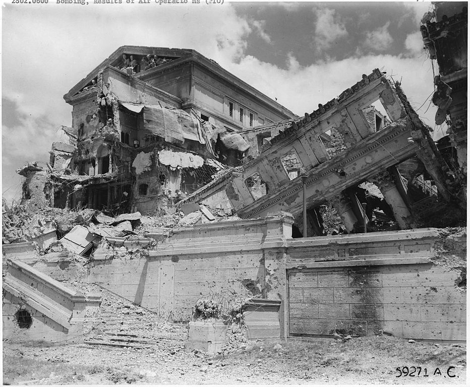 The Old Legislative Building destroyed by Airstrike during World War II