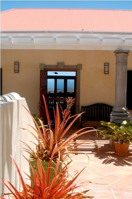The view visible from the front door of the villa