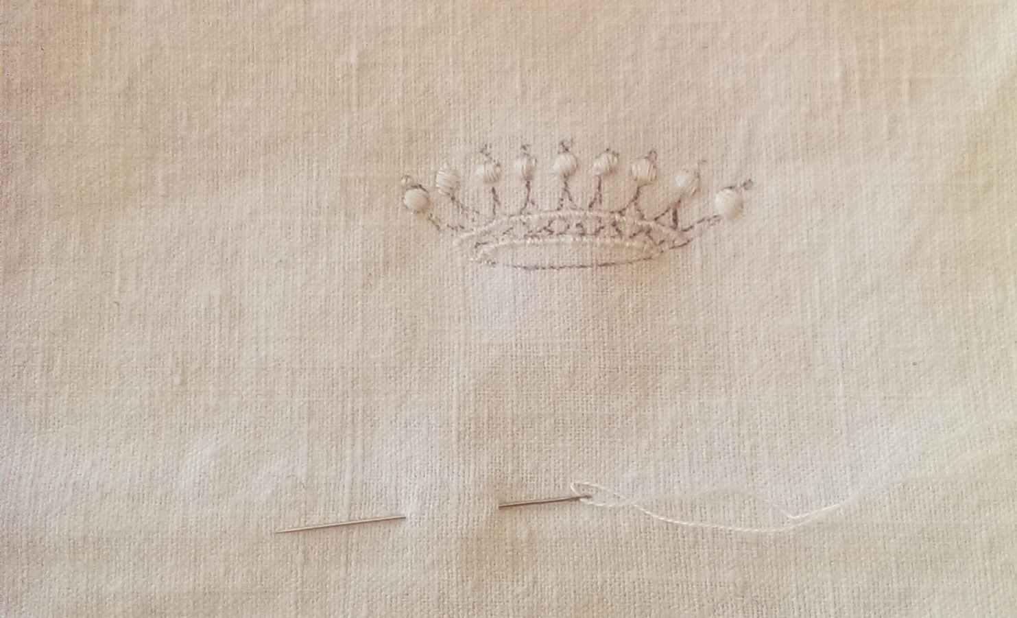 ATELIER OLDD. A picture of a sample I am working on now. Hand embroidered crown. www.atelieroldd.com