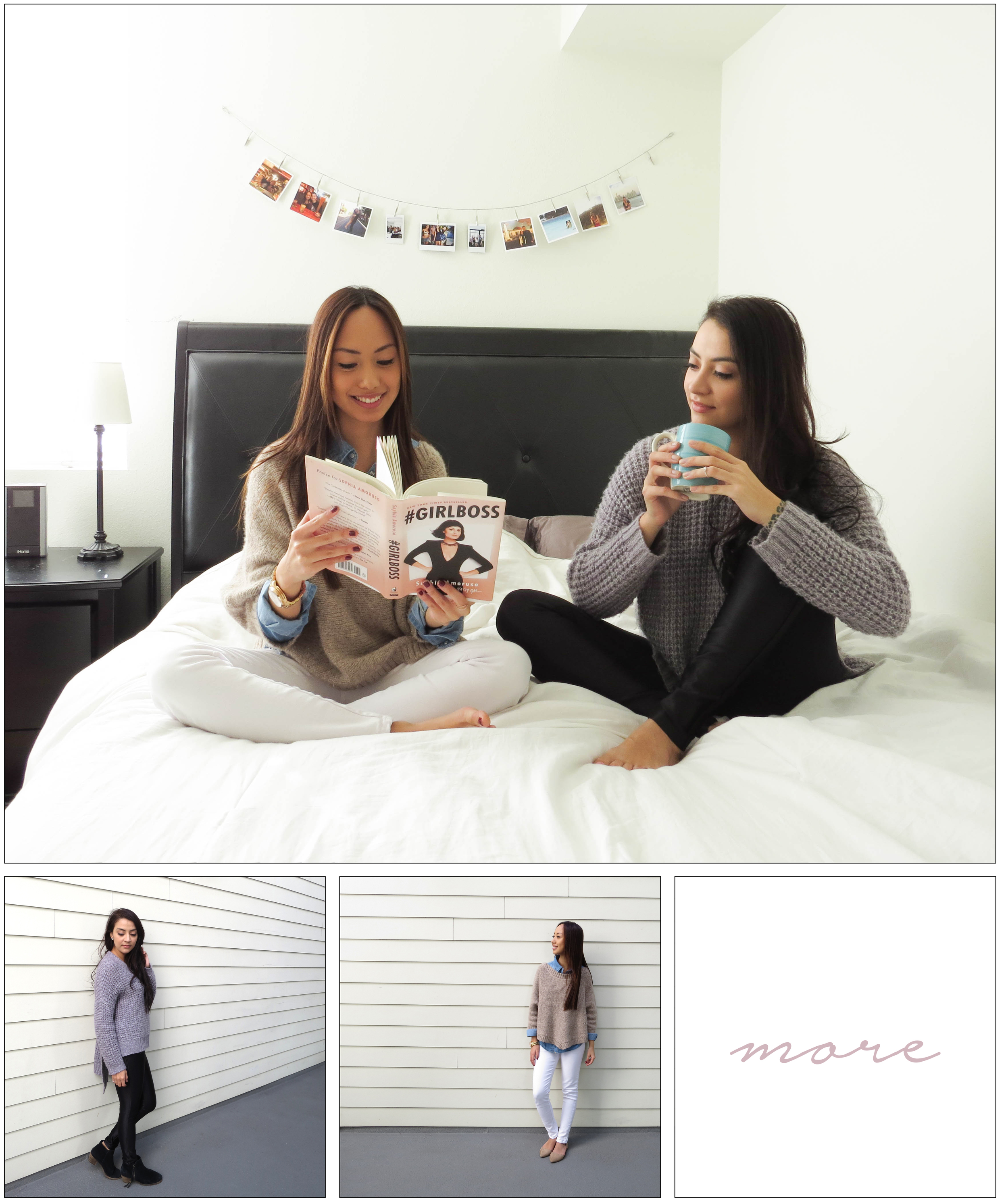 "Who doesn't get a little lazy with the cold? We do! So this time we decided to stay indoors and have a DIY photoshoot (aka using self timer) We did our best to use the apartment as a ""studio""... here goes our first attempt!"