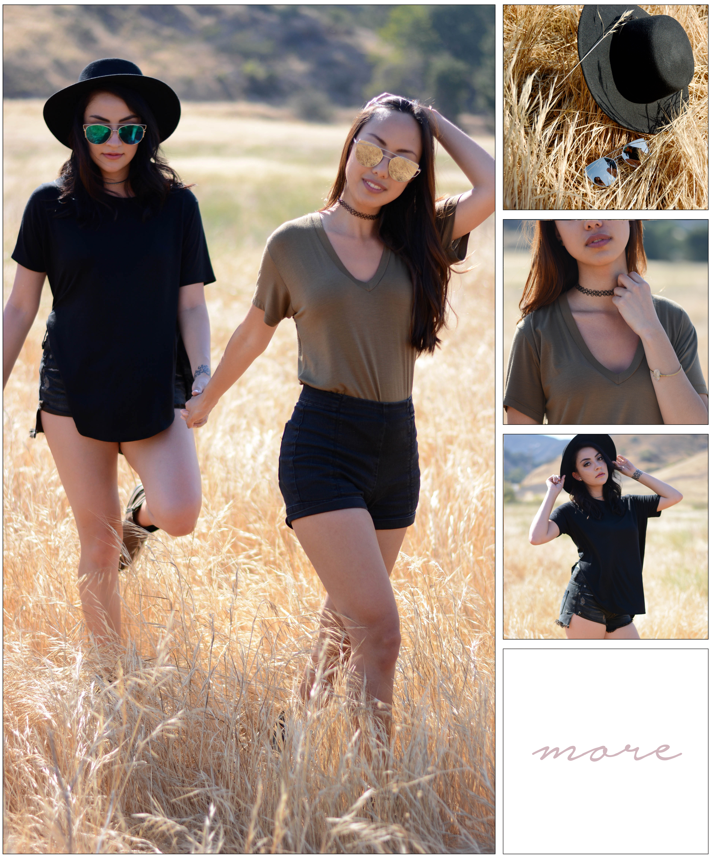 "This day was definitely one of our more memorable shoots. It was very hot, and we had nowhere to stay cool under the scorching sun. We always talk about #doingitforthepic and scouting the perfect location for our outfits so we figured we would head out to the canyons and frolick in the ""pretty"" grass. 🌾🌾🌾"