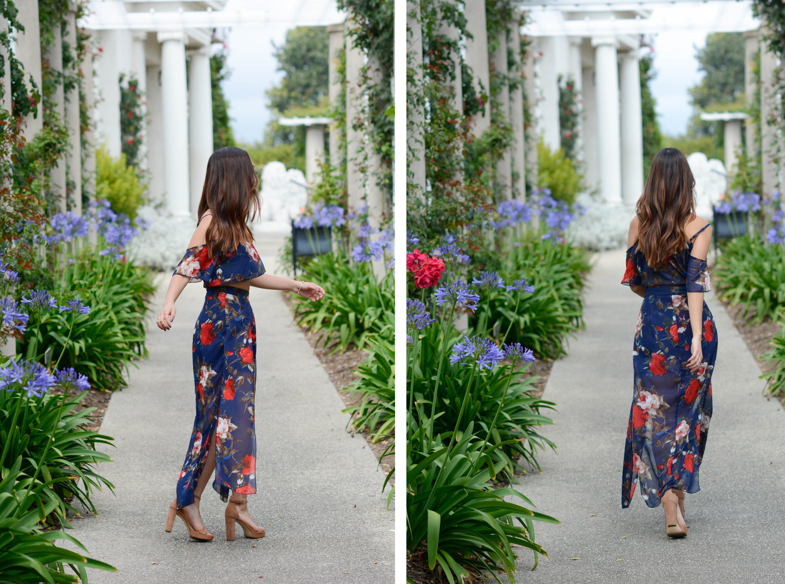 """Surprise, surprise, my """"two piece"""" is actually a romper! At the back it all connects however the front gives the effect that its a two piece with matching top and bottoms. What makes this romper so special is the high low detail. It really makes the piece look elegant and chic."""