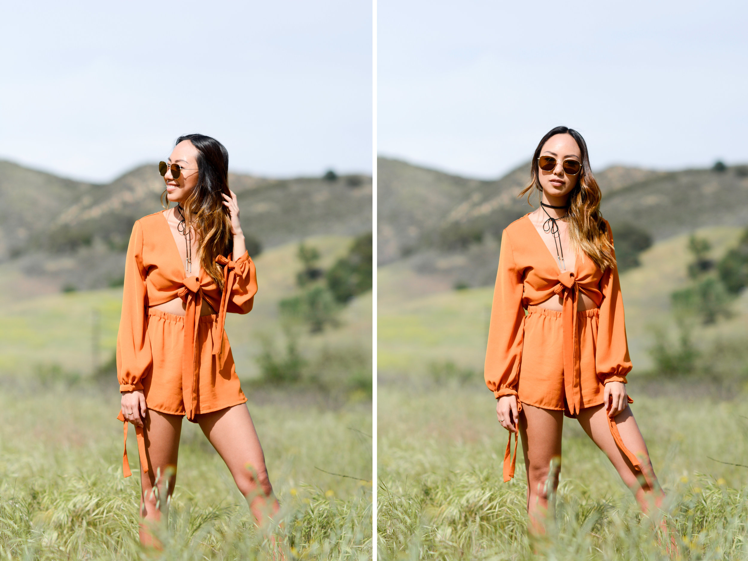 I have been digging earthy tones lately and have been wanting to add some orange and yellows to my closet. When I saw this romper it was love at first sight 😍 My favorite thing about this piece is the tie-cutout on the front. It makes it super flirty and gives the illusion that it's a two piece! To complete my outfit I wore a hat and booties, two must haves for any boho look.