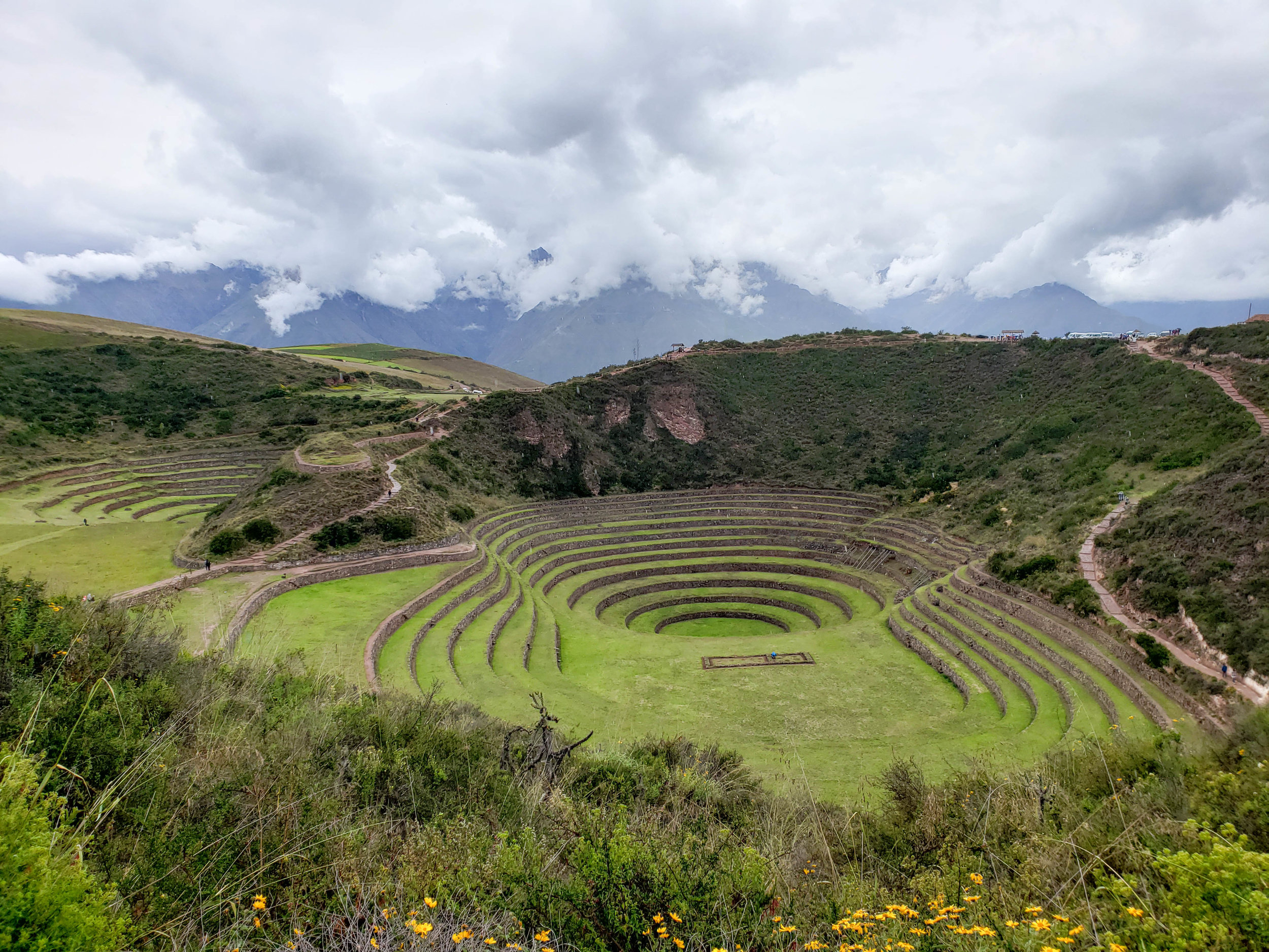 The circular terraces of Moray are super interesting! This served as an agricultural laboratory were Incas tested crops. Each terrace has a different temperature 🌡�.