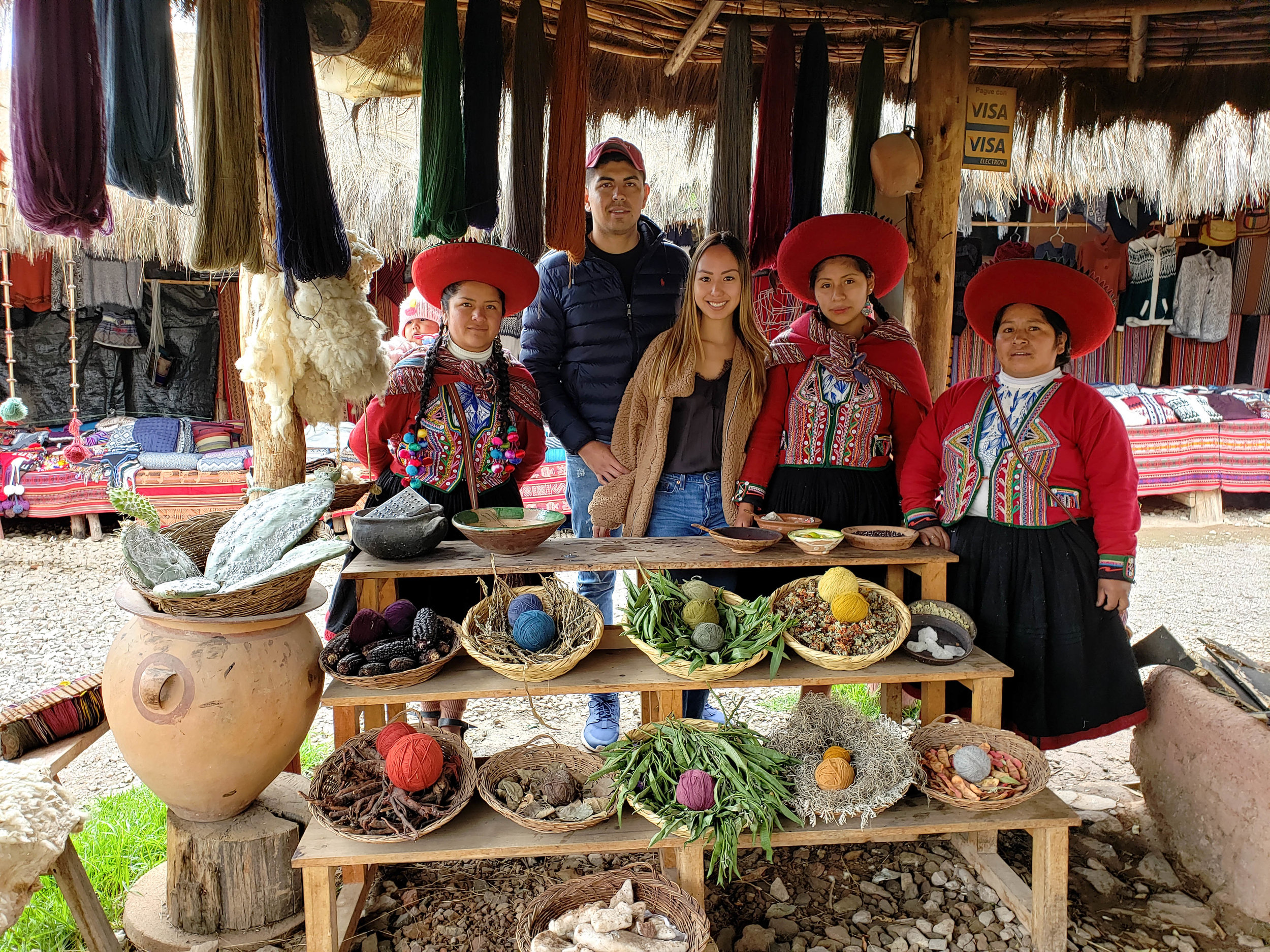 One of our stops was at a textile market, where the you can buy alpaca goods at great prices. The ladies demonstrate how to dye textiles naturally, for example to get red dye you get it from the Cochinilla (it's an insect). It was super interesting and entertaining!