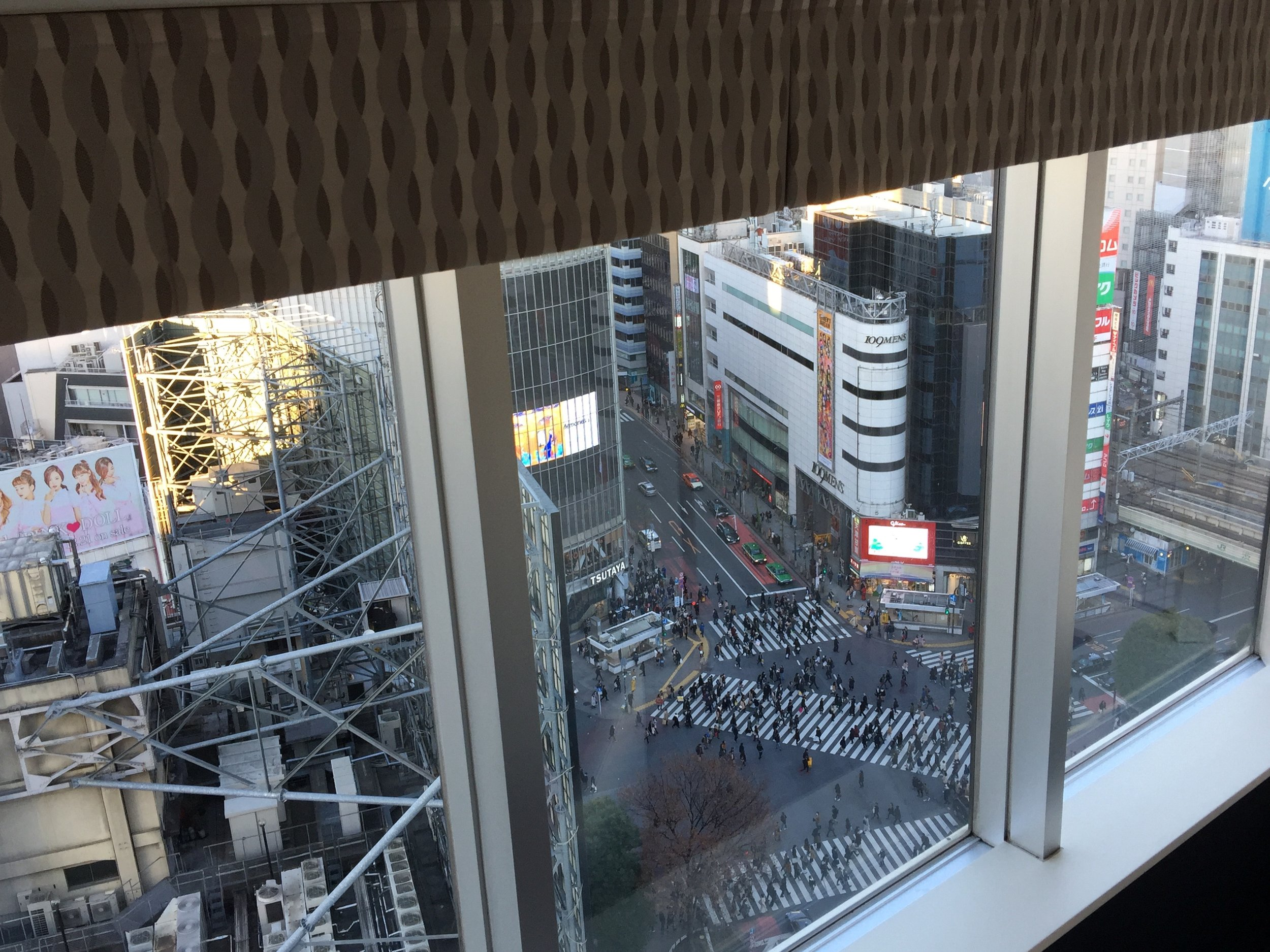 View from room 1501 at Shibuya Excel Hotel Tokyu above Shibuya Crossing
