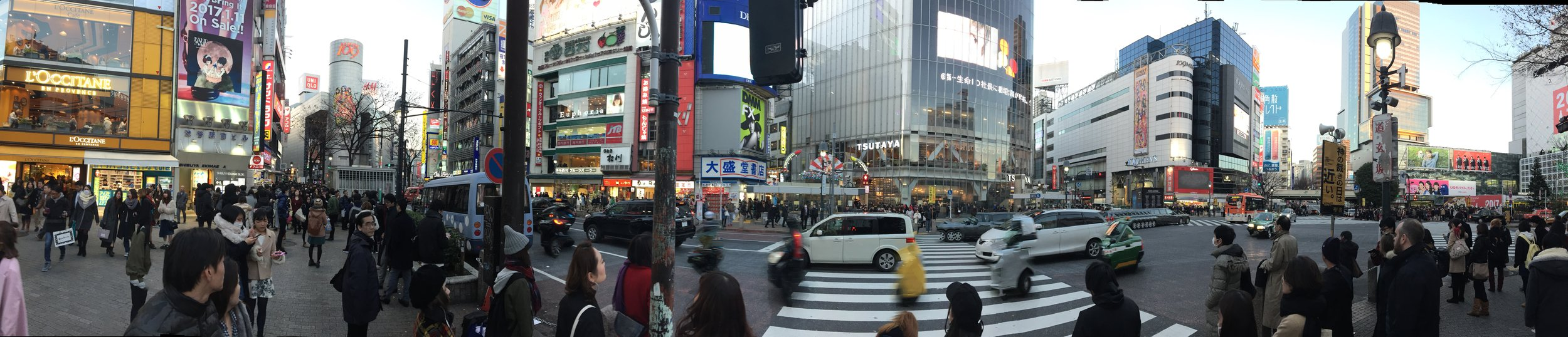 Shibuya Crossing from the ground.