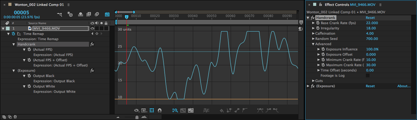 Here, with Minimum Crank Rate set to 10 and Maximum Crank Rate set to 30, the camera fps gets hard-clipped at both its fast and slow extremes. Learn how to reveal this curve view at Visualizing the Camera Frame Rate below.