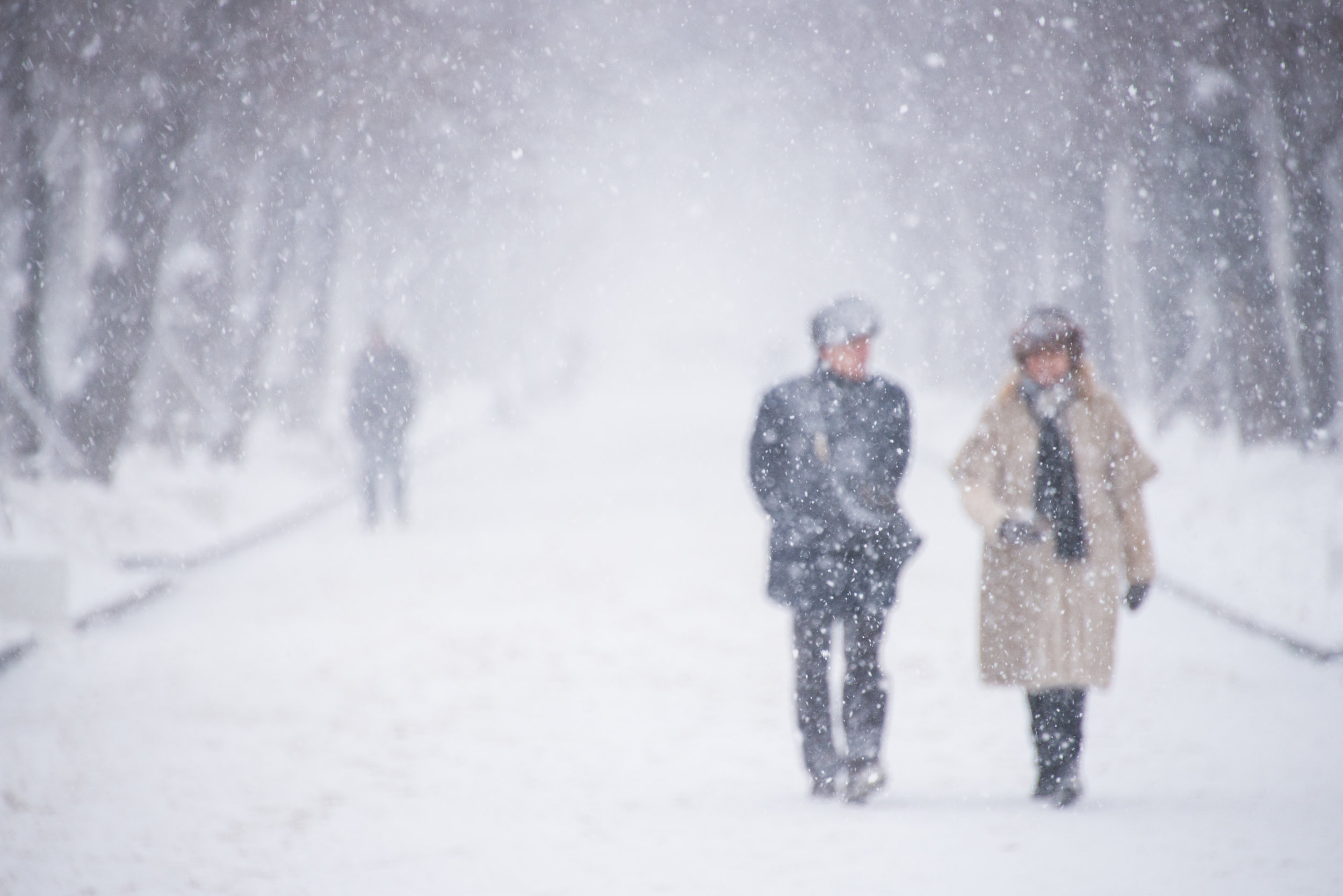 Couple in a snowstorm available framed (frame 50 x 70cm)or unframed (photo 40 x 50cm)