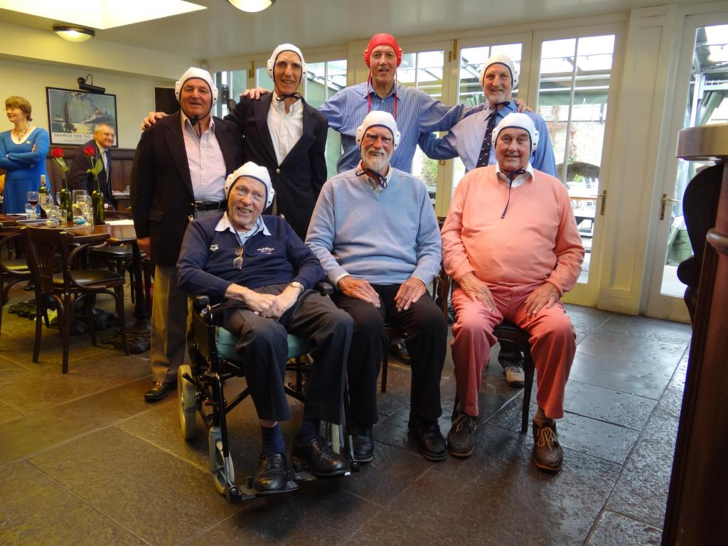 The photo shows those who were able to attend: Back Row L-R. Norman Griffin, Murray McLachlan, John Towers, George Hill. Seated L-R. Bob Burn, Duncan Kemp, Tony Milton.