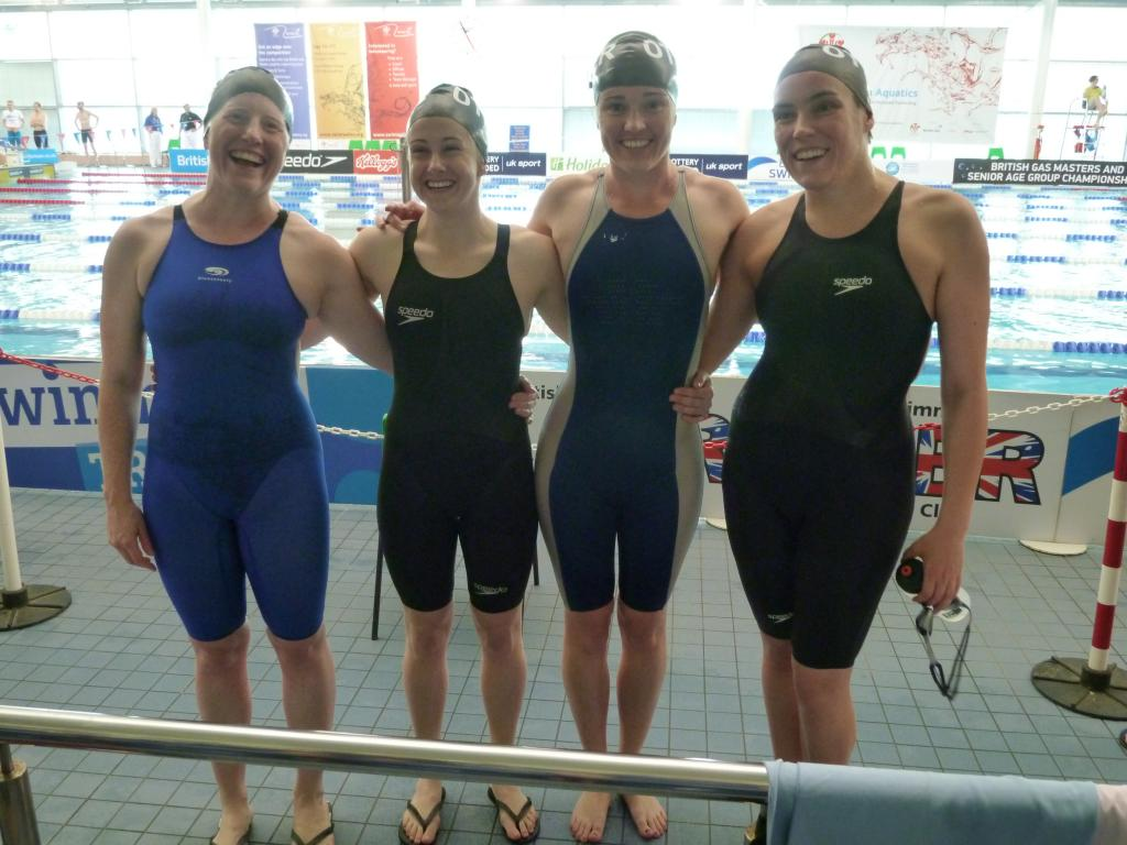 Otter 4x100 Ladies free relay after breaking the British & European record @ British Masters in 2014.