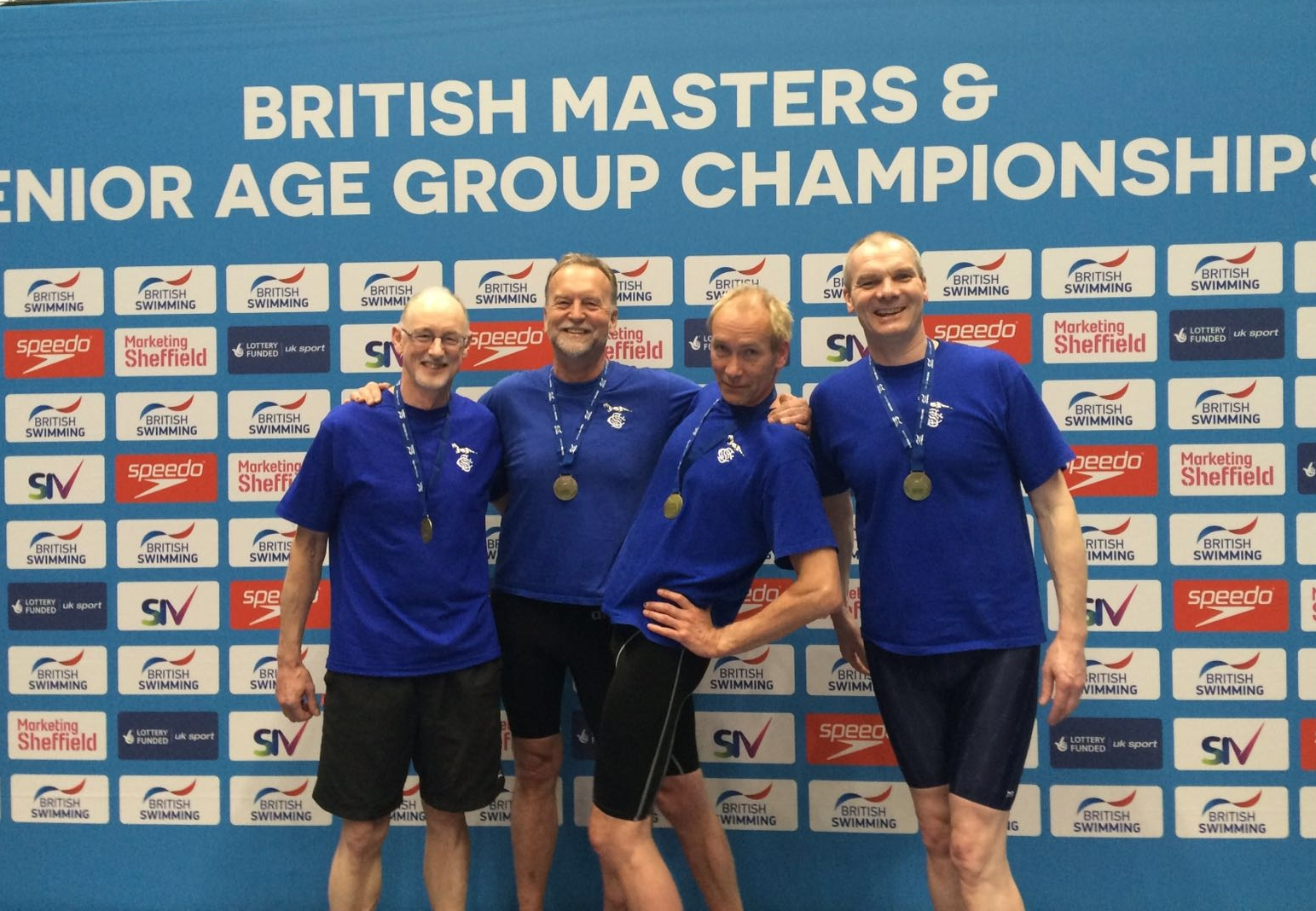Stephen, Peter, Peter & Paul with their second GB relay record of the meet.