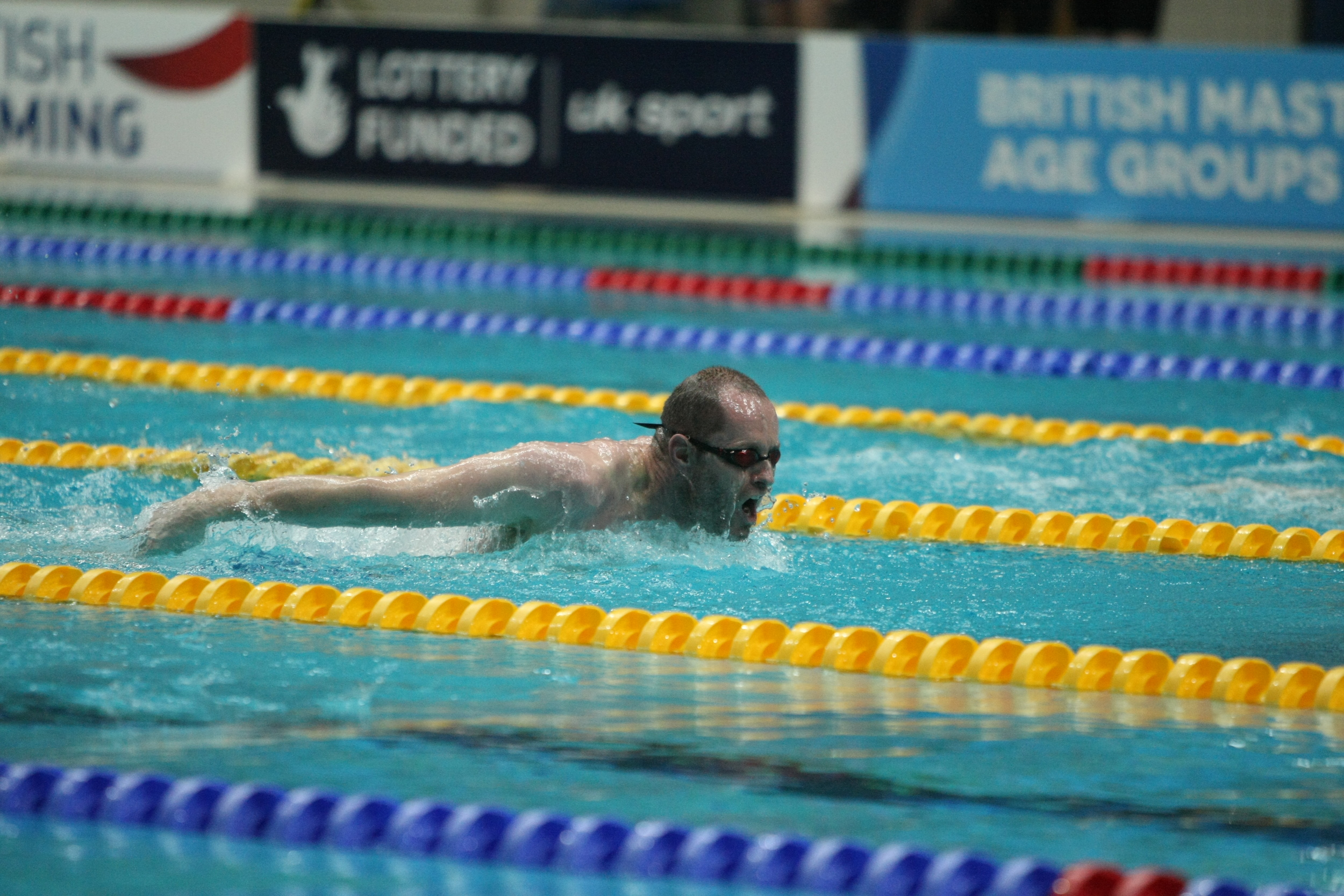 Dave Warren on his way to a new British Record i the 200IM.