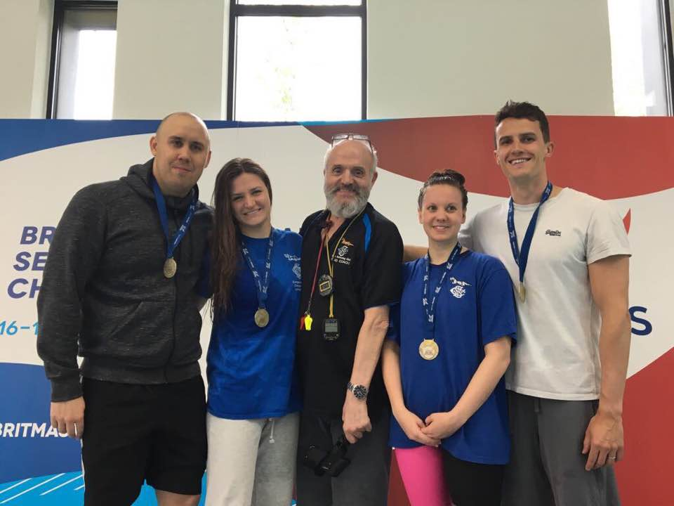 The British Record 4 x 100 Medley Relay team with Coach Steve
