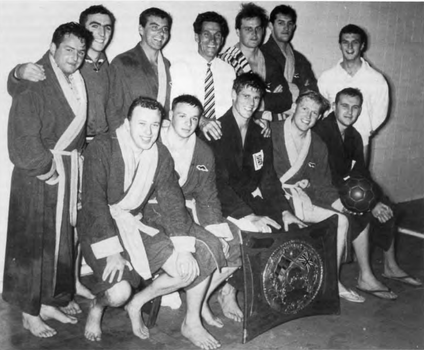 Bob Burn (front row, second from right) as a member of the 1964 National Championship winning men's water polo team.