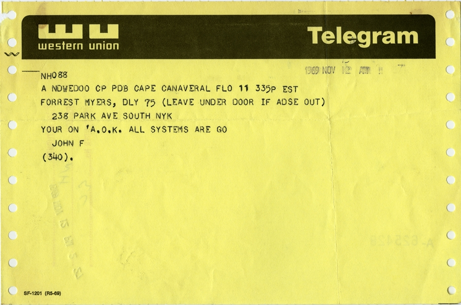 Telegram confirming that the Moon Museum was secretly placed on the Apollo XII lander.