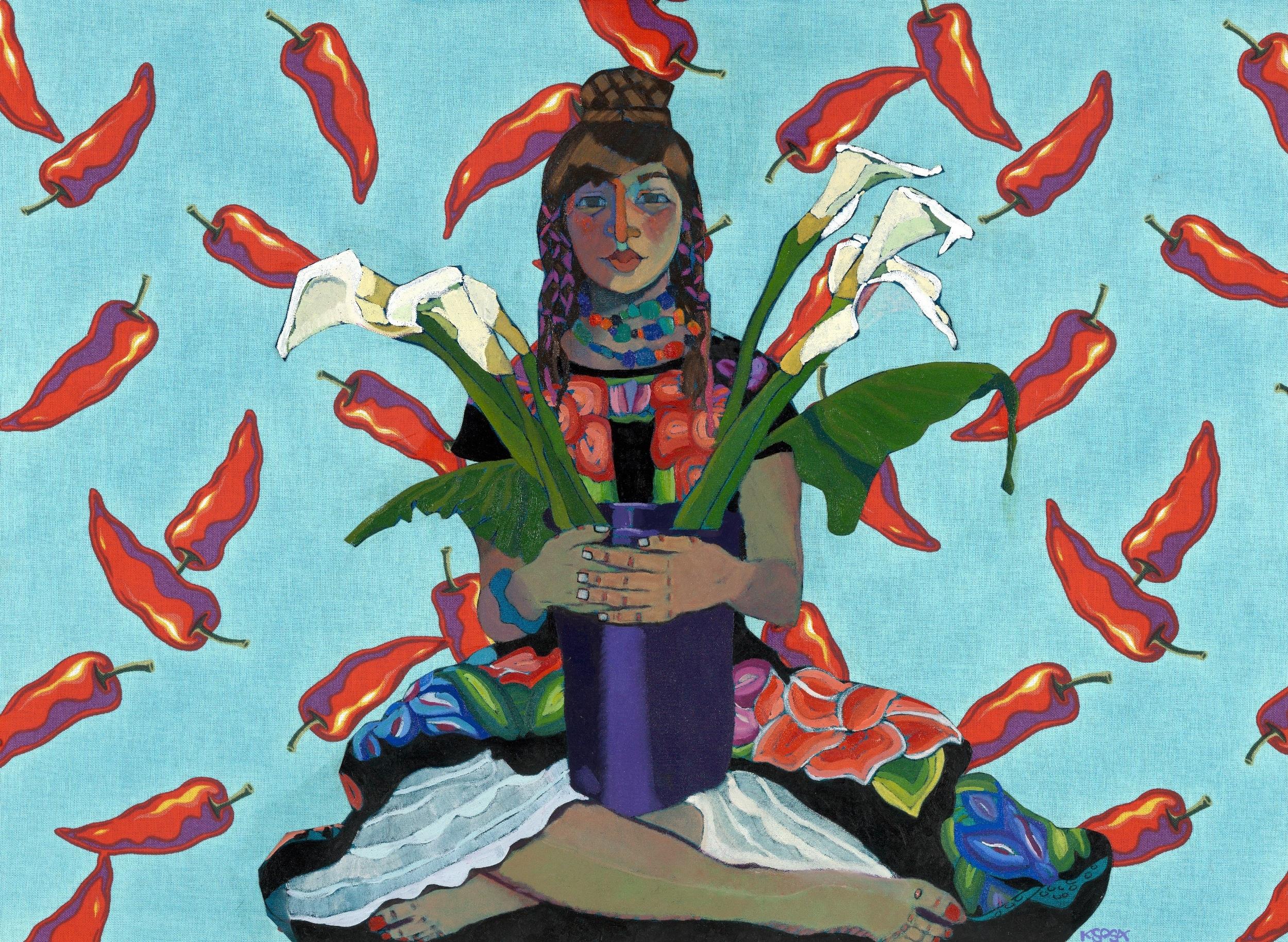 """Kathy Sosa, Chile Lillies, Huipiles, 2007, 36"""" x 50"""", Oil portrait collage"""