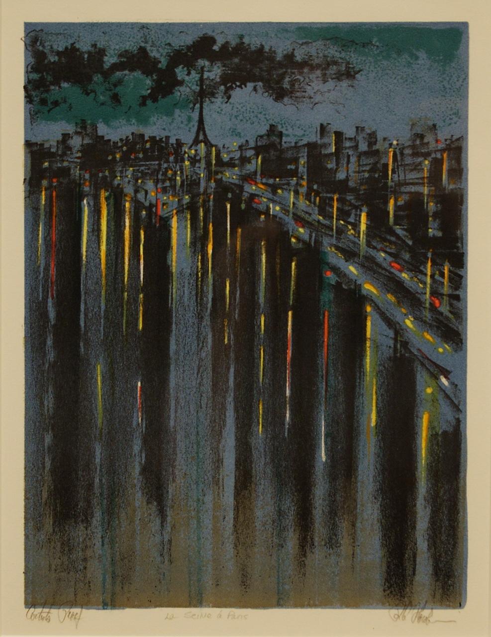 Richard Florsheim, Paris (aka La Seine a Paris, 1963, Color lithograph, Polk Museum of Art Permanent Collection 2004.8.14, Gift of the Richard Florsheim Art Fund