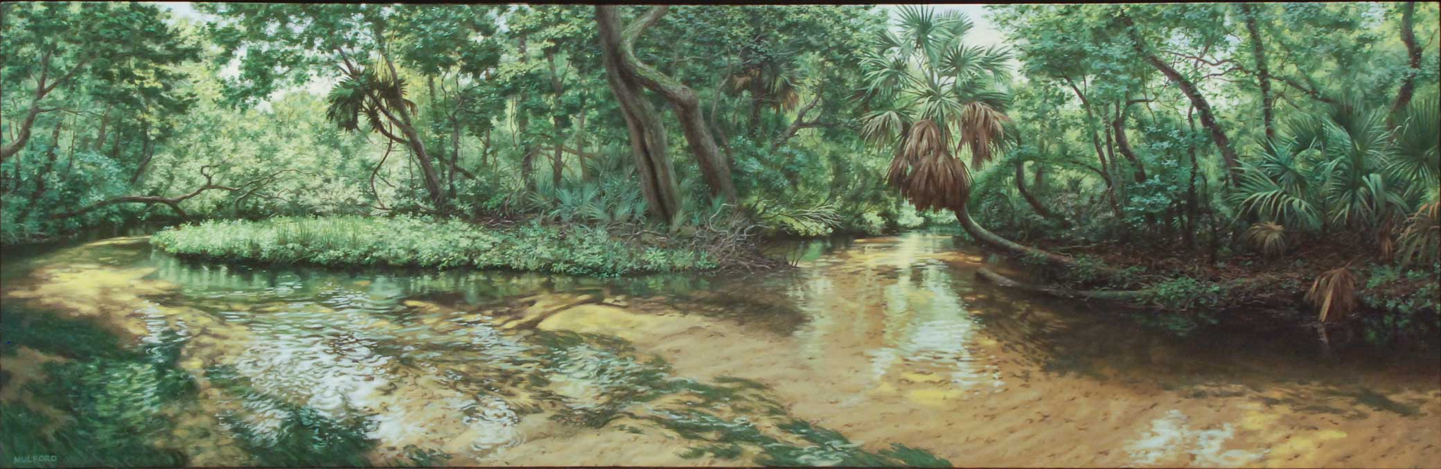 Hansen Mulford, Woods near Jupiter Springs, 1990, Oil on linen, Polk Museum of Art Permanent Collection 1990.89, Gift of the friends of Selma and Lester Wishnatzki in honor of their 50th wedding anniversary