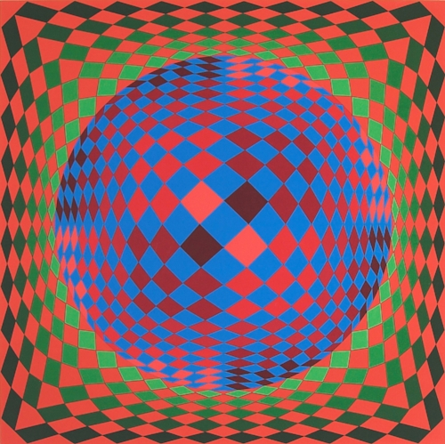 Victor Vasarely, Untitled (Sp here), n.d., Serigraph (184/250), Polk Museum of Art Permanent Collection 2001.19.3, Gift of William and Norma Roth