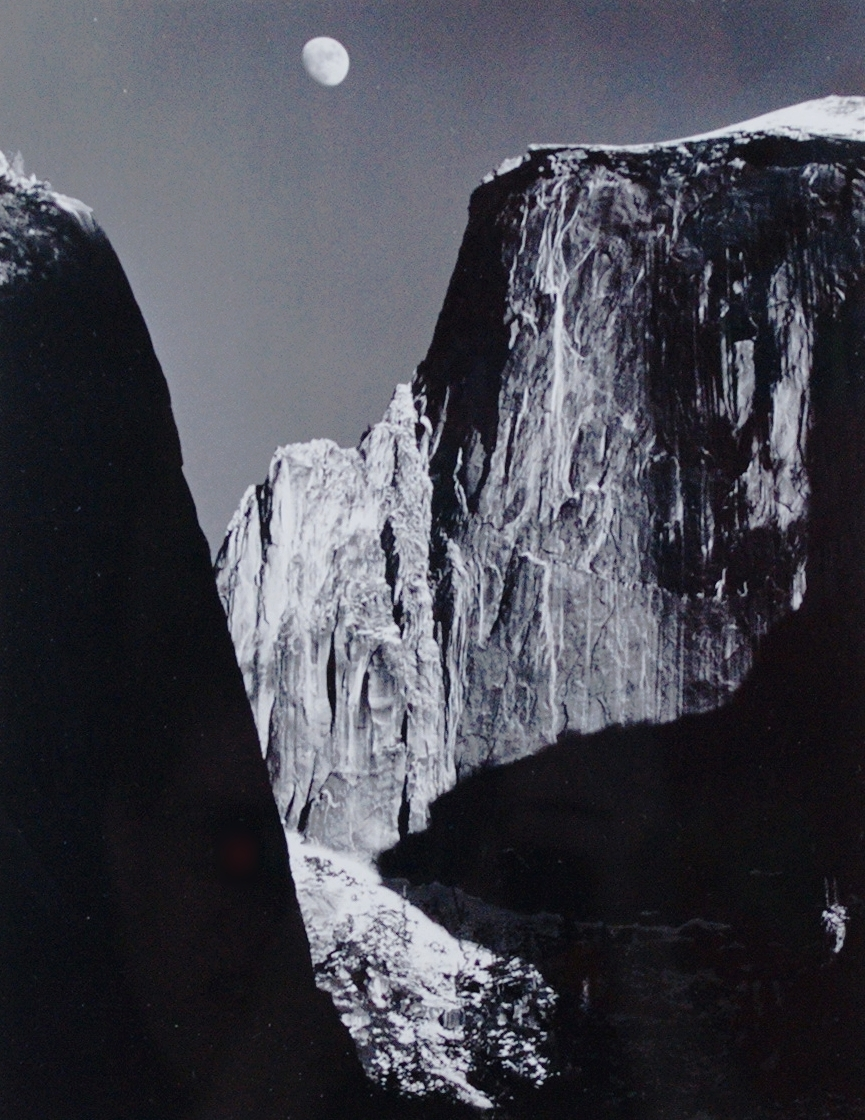 Ansel Adams,  Moon and Half Dome , 1960, Silver gelatin print, Polk Museum of Art Permanent Collection 2011.2, Purchase through the Art Resource Trust.