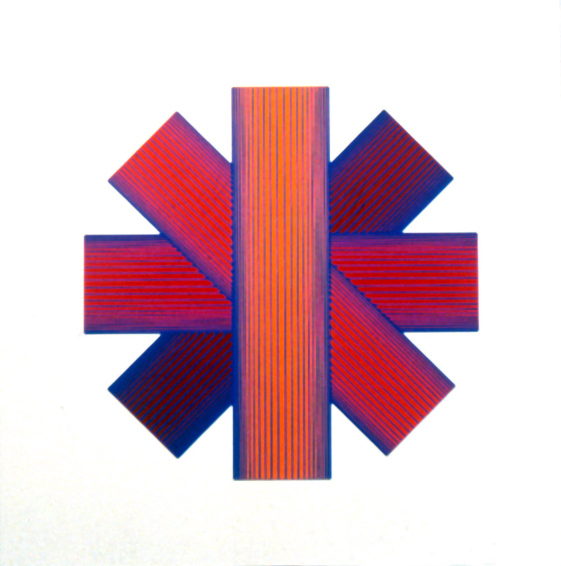 Richard Anuszkiewicz,  Blue Tinted Star , 1991, Lithograph/serigraph, Polk Museum of Art Permanent Collection 1993.10, Graphicstudio Subscription Purchase through Kent Harrison Memorial Acquisition Fund.