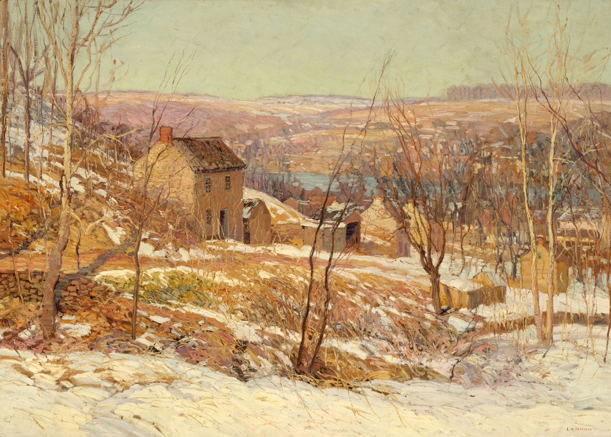 Edward Willis Redfield (American, 1869-1965), Winter in the Valley, c. 1920s, oil on canvas, 36 x 50 inches, Museum Purchase, Reading Public Museum, Reading, Pennsylvania.