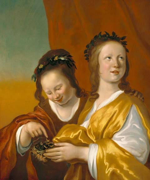 Jacob Backer, Two Girls with a Bird's Nest , n.d., Panel, 73.5 cm x 60.5cm, Image courtesy of Hoogsteder & Hoogsteder.