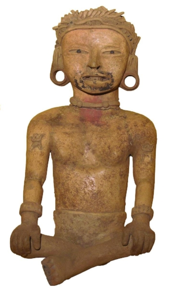 Remojadas Culture,  Seated Male Figure , 500-700 CE, Ceramic, Polk Museum of Art Permanent Collection 1983.1.6, Gift of Dr. and Mrs. David Taxdal.