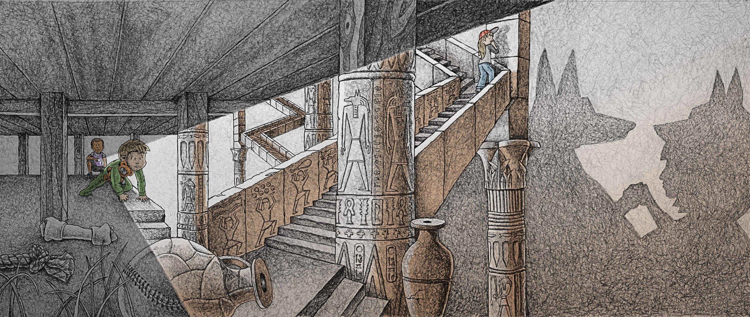 Fred Koehler 'Flashlight Night,' 2017, Pencil, digital coloring, Image courtesy of the artist.