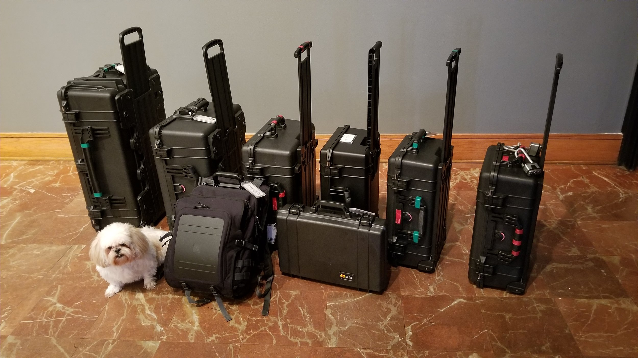 My hurricane kit. Everything is kept in waterproof Pelican cases (except for Paisley).