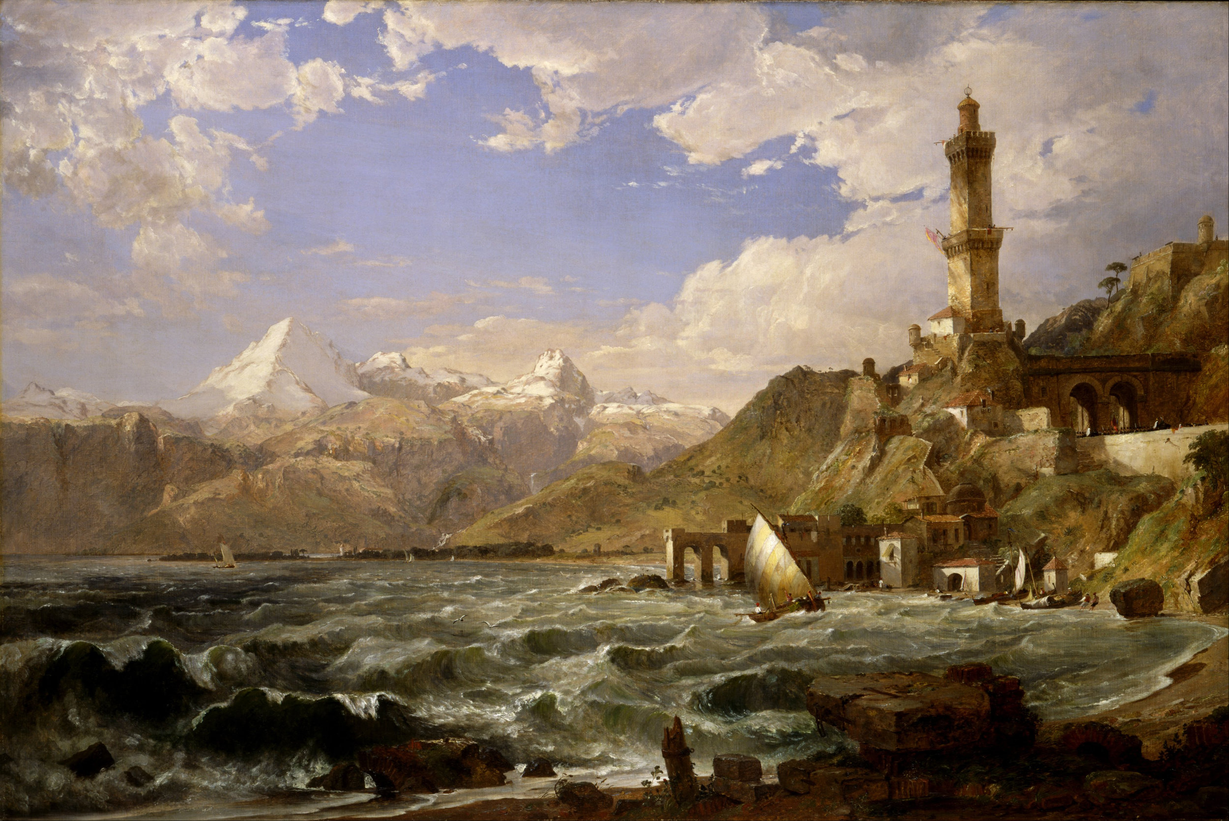Jasper Francis Cropsey, 'The Coast of Genoa,'1854, Oil on canvas,48x72 inches, Image courtesy of the Smithsonian American Art Museum.