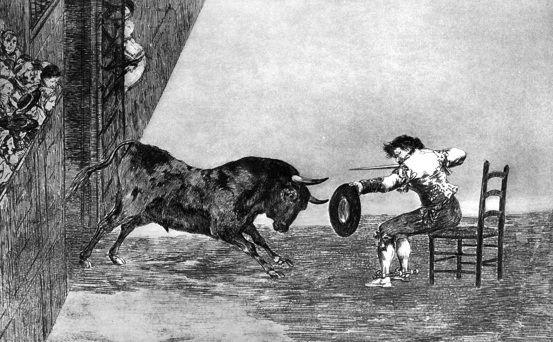 Francisco Goya, 'Termeridad de martincho en la plaza de Zaragoza,' 1815-16, Etching, Image courtesy The Art Company.