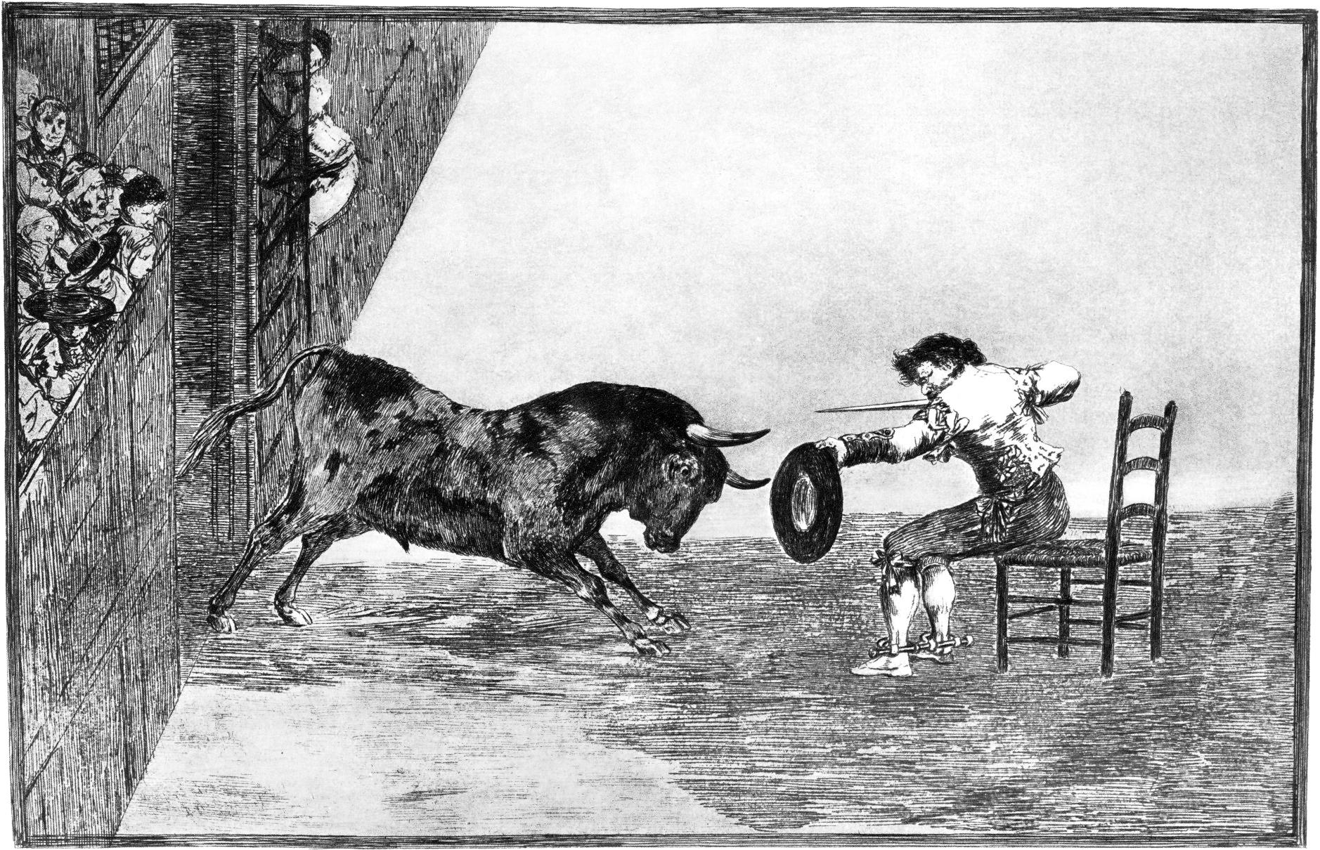 Francisco Goya,  Termeridad de martincho en la plaza de Zaragoza ,1815-16, Etching, Image courtesy The Art Company.
