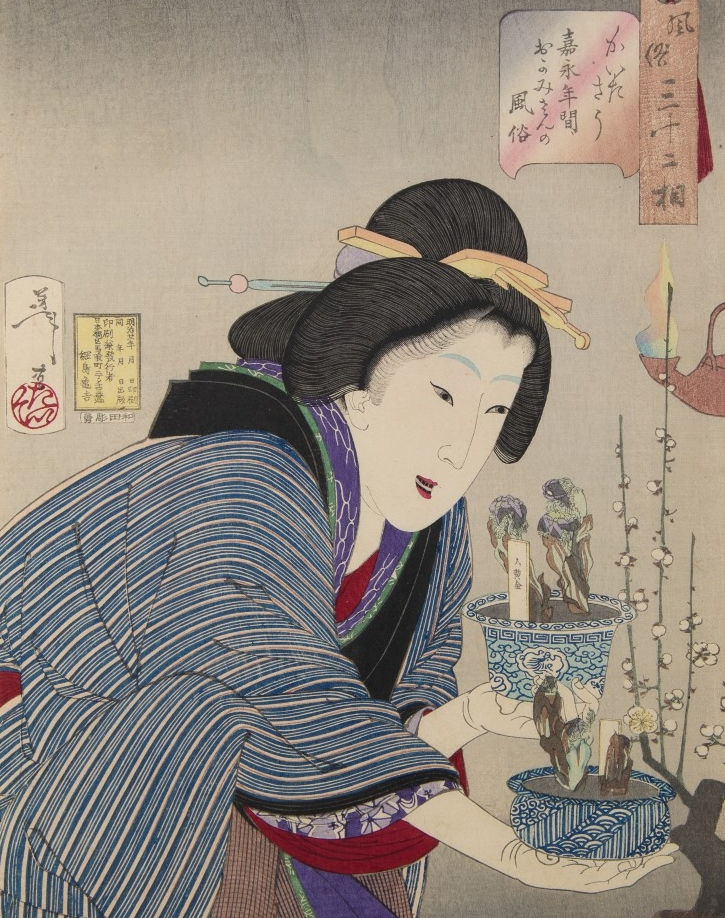Tsukioka Yoshitoshi (1839-1892),  Undecided: The appearance of a proprietress of the Kaei era  from the series  32 aspects of women , 1888, Gift of G. E. Robert Meyer, PMA Permanent collection 1995.39.18