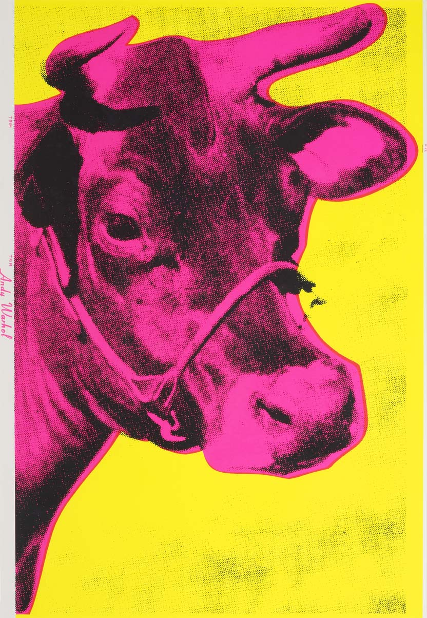 Andy Warhol, 1928-1987, American,  Cow (Pink on Yellow),  1966, Screenprint on wallpaper, Gift of Anonymous Donor in Honor of the 2012 Art Resource Trust and Adam Justice, Polk Museum of Art Permanent Collection 2013.5