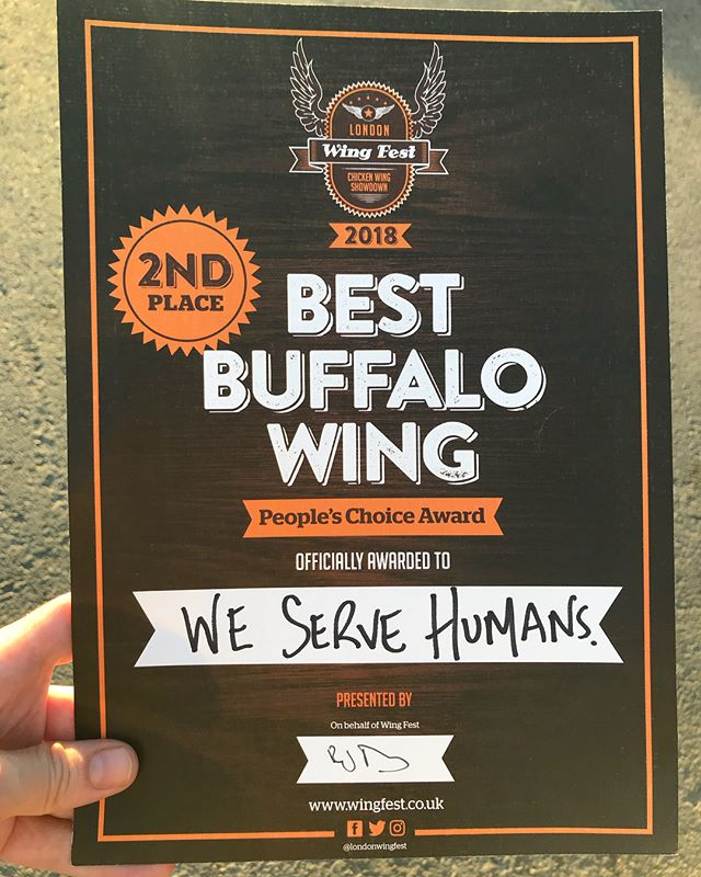 Completely wiped out after a mammoth day 2 at @londonwingfest. Blown away to take silver in the People's Choice - Best Buffalo Wing for 2018... voted by the wing loving punters. Thank you all! This means a lot, especially as it was such a team effort. Our wings proved to be so popular that we actually ran out of chicken mid-afternoon today. 😳 If it wasn't for the incredible generosity of our neighbour traders we'd have been up sh*t creek. A MASSIVE shout out to @ghetto_grillz & @chickenshackuk. We ❤️ you forever! They not only supplied us with more wings, but helped fry it too. Just so we could keep up with the sheer demand! A testament to the legends that trade at this event & the community vibes of the street food scene in general. #allthefeels #buffhello #seeyounextyear #ldnwingfest