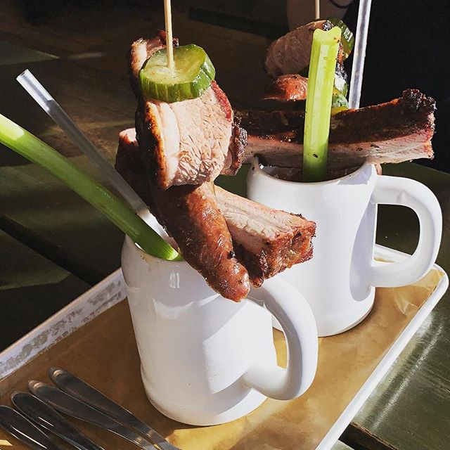 The Bloody Mary at Warpigs in Copenhagen. With brisket, rib and sausage. Obviously. They peel the celery too which for me is a sign of a good joint.