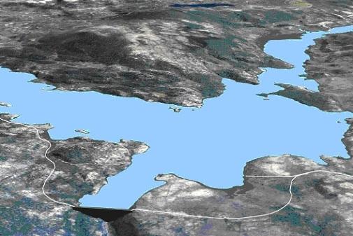3D-modell som viser mulig framtidig situasjon med nytt vannmagasin og nye veier.