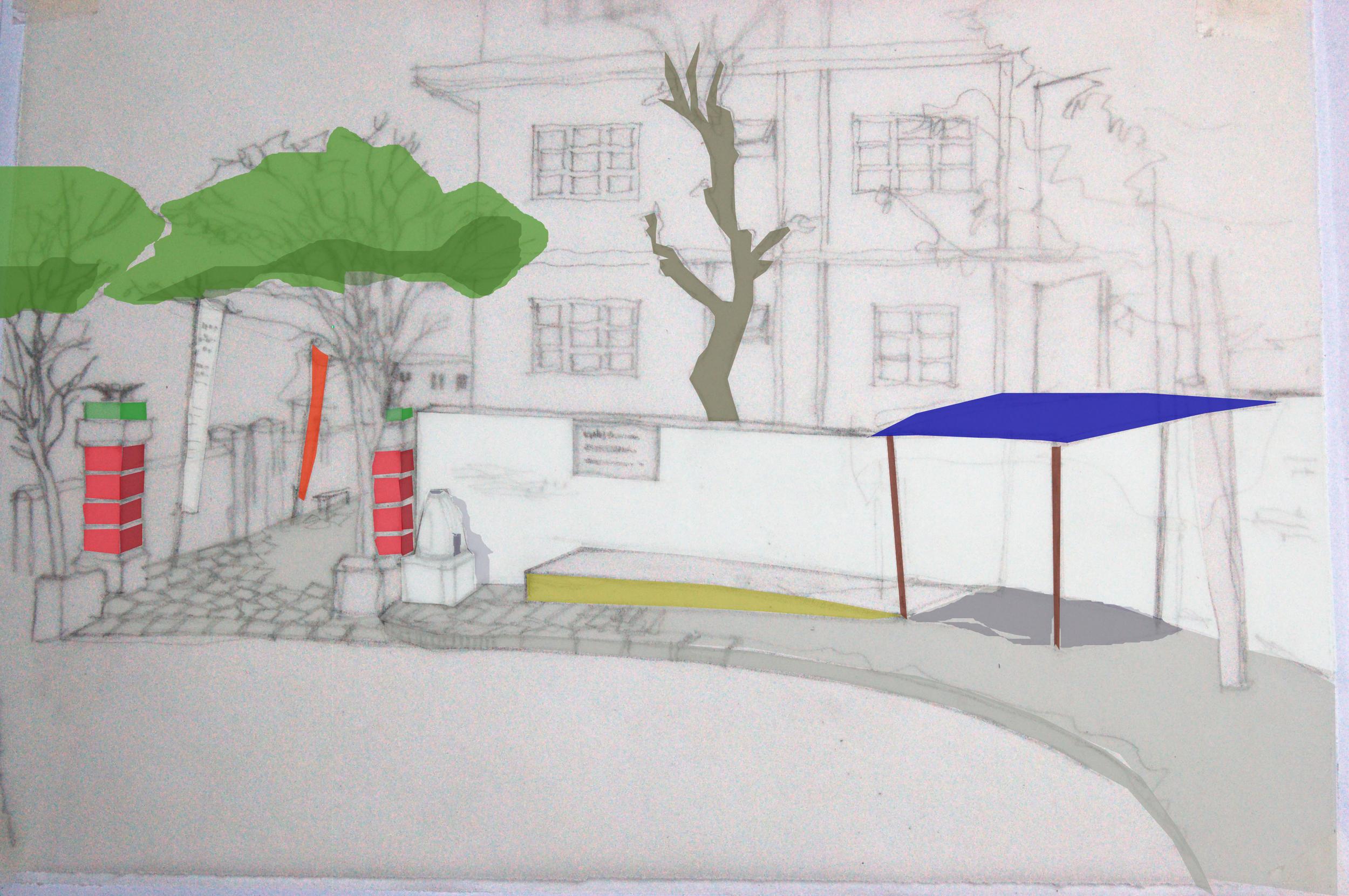 Illustrasjon av planlagte tiltak i området ved porten inn til sykehuset