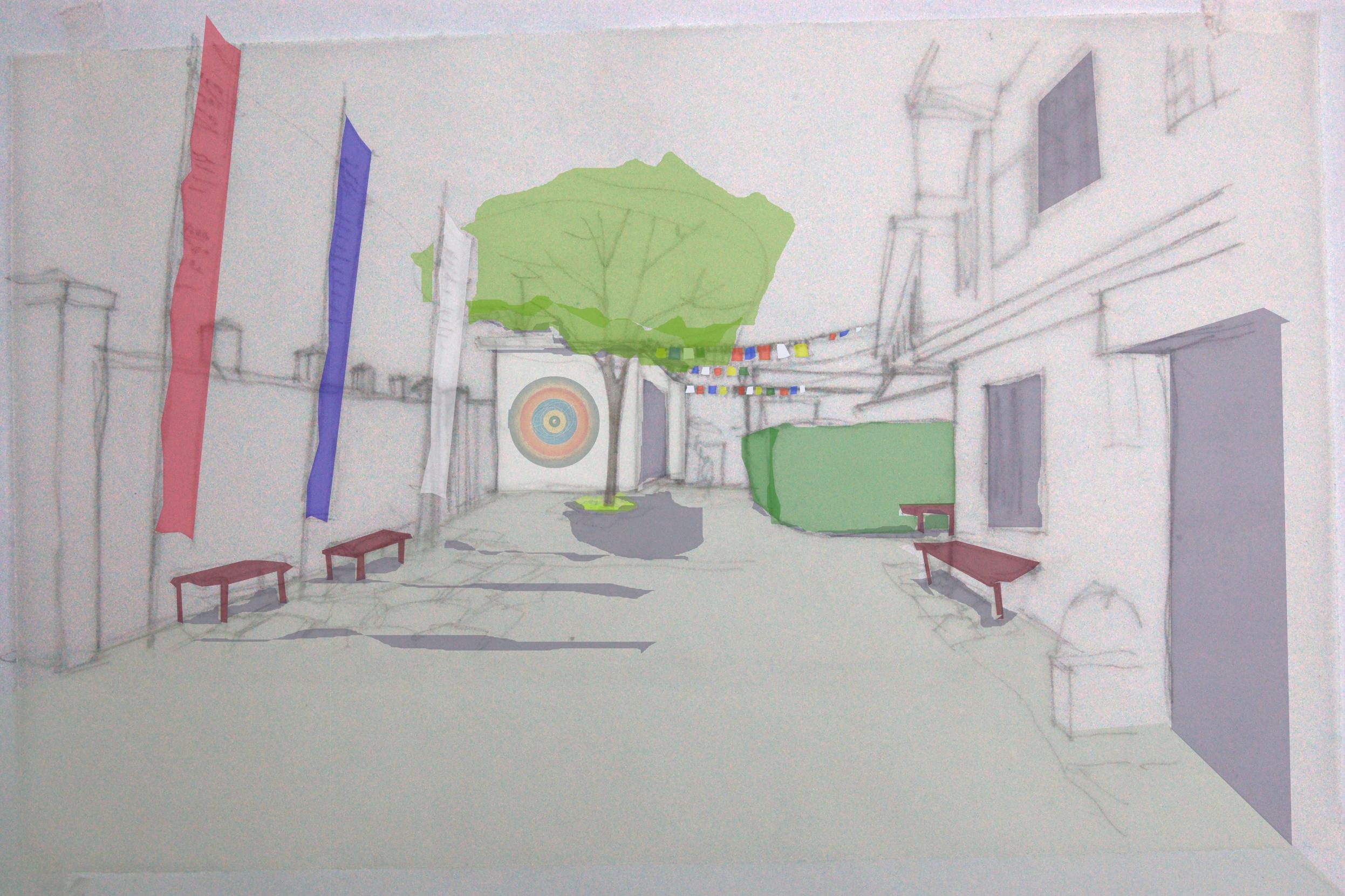 Illustrasjon av planlagte tiltak i sykehusets atkomstparti