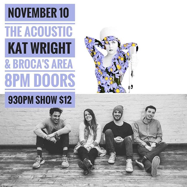 F R I D A Y 💜 We're so excited to be back at @theacousticbpt with the beautiful and talented @katwrightkatwright !  Kat Wright - 9:30pm Broca's Area - 11:30pm $12 (ticket link below) https://m.bpt.me/event/3097973